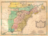 A map of the British and French dominions in North America with the roads, distances, limits, and...