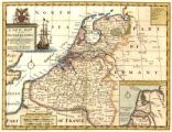 A new map of the Netherlands or Low Countries shewing their principal divisions, cities, towns,...