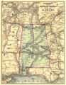 Watson's new railroad and distance map of Alabama.
