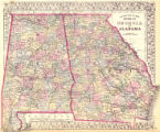 County map of the states of Georgia and Alabama
