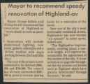 Mayor to recommend speedy renovation of Highland-av