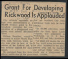 Grant for developing Rickwood is applauded