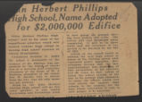 Herbert Phillips High School, name adopted for $2,000,000 edifice
