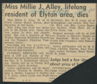 Miss Millie J. Alley lifelong residentg of Elyton area dies