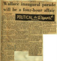 Wallace inaugural parade will be a four hour affair