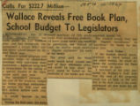 Wallace reveals free book plan school budget to legislators