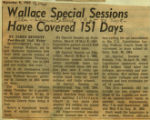 Wallace special sessions have covered 151 days