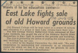 East Lake fights sale of old Howard grounds