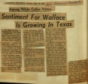 Sentiment for Wallace is growing in Texas