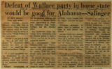 Defeat of Wallace party in home state would be good for Alabama Salinger