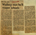 Wallace says hell reopen schools