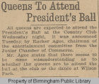 Queens to attend President's Ball
