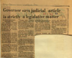 Governor says judicial article is strictly a legislative matter