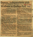 Demos independents pick Wallace in Gallup poll