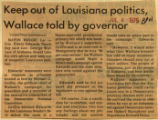 Keep out of Louisiana politics Wallace told by governor