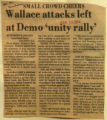 Wallace attacks left at Demo unity rally