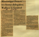 Mississippi Demos to choose delegates Wallace is favored