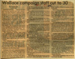 Wallace campaign staff cut to 30