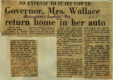 Governor Mrs Wallace return home in her auto