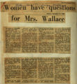 Women have questions for Mrs Wallace