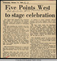 Five Points West to stage celebration