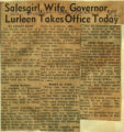 Salesgirl wife governor Lurleen takes office today