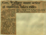 Gov Wallace more active at mansion takes rides
