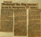 Blacked out Rev King interview rerun by Montgomery tv station