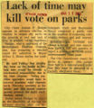 Lack of time may kill vote on parks