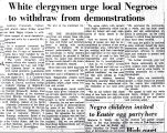 White clergymen urge local Negroes to withdraw from demonstrations