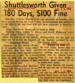 Shuttlesworth given 180 days 100 fine