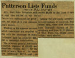 Patterson lists funds