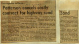 Patterson conceals costly contract for highway sand