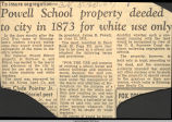 Powell School property deeded to city in 1873 for white use only