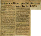 Indiana editors predict Wallace vote to be heavy