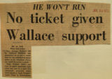 No ticket given Wallace support