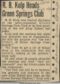 R. B. Kulp heads Green Springs Club