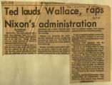 Ted lauds Wallace raps Nixons administration