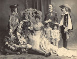 Mardi Gras king and queen with court, 1900