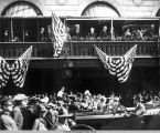 President Warren G. Harding standing on the Tutwiler Hotel balcony