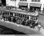 Streetcar loading downtown passengers