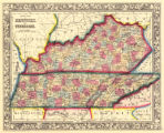 County Map of Kentucky and Tennessee