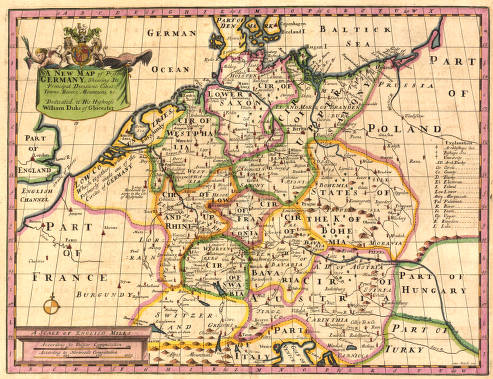 Map Of Germany With Cities And Towns In English.A New Map Of Present Germany Shewing Its Principal Divisions