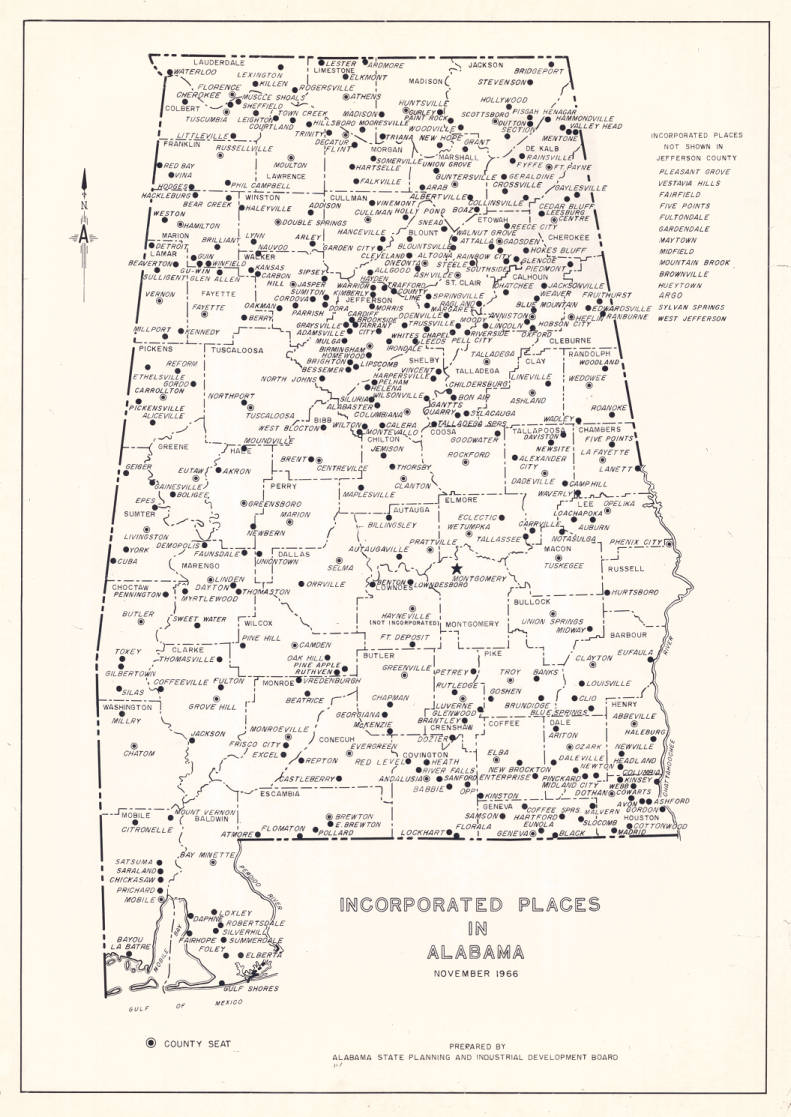 Incorporated places in Alabama : November 1966 - Maps ...