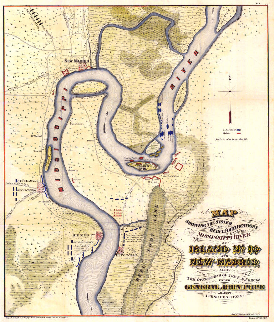 Map showing the system of rebel fortifications on the Mississippi ...