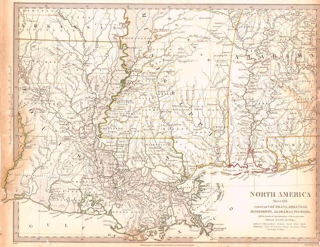 North America Sheet Xiii Parts Of Louisiana Arkansas