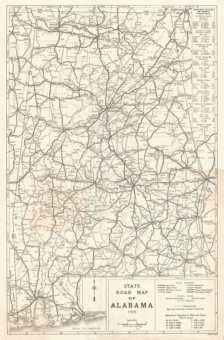 State road map of Alabama 1929. - Maps Project - Birmingham Public on