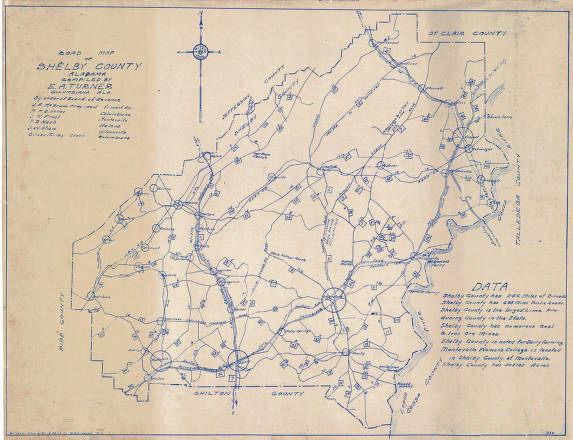 Road Map Of Shelby County Alabama Cartography Collection - Alabama road map
